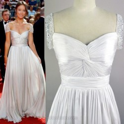 Shop Chiffon Tulle V-neck Floor-length A-line with Criss Cross Ball Dresses in New Zealand
