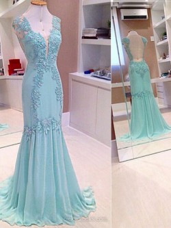 Shop Chiffon V-neck Sweep Train Trumpet/Mermaid Appliques Lace Ball Dresses in New Zealand
