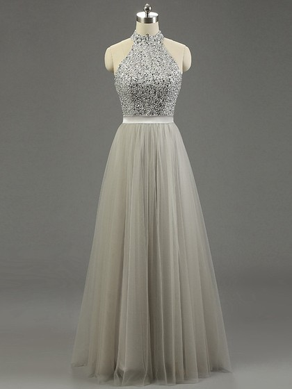 Shop High Neck Gray Tulle Floor-length Beading Fashion Ball Dresses in New Zealand