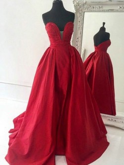 Shop Original A-line V-neck Red Satin Sweep Train Ruffles Backless Ball Dresses in New Zealand