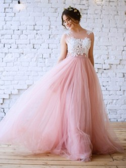Shop Princess Scoop Neck Tulle with Appliques Lace Floor-length Pink New Arrival Ball Dresses in ...