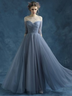 Shop 3/4 Sleeve A-line Tulle Beading Scoop Neck Ball Dress in New Zealand