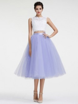Shop Tea-length Scoop Neck Tulle with Appliques Lace Ball Gown Two Piece Perfect Ball Dresses in ...