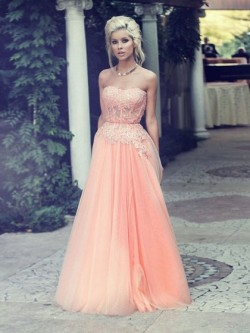 Shop Tulle Sweetheart Floor-length A-line Appliques Lace Ball Dresses in New Zealand