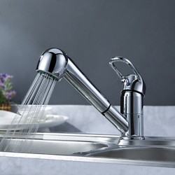 Solid Brass Pull Out Kitchen Faucet – Chrome Finish – Faucetsmall.com
