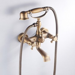 Antique Brass Finish Inspired Tub Faucet with Hand Shower – Faucetsmall.com