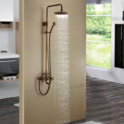 Antique Brass Finish Tub Shower Faucet with 8 inch Shower Head and Hand Shower – Faucetsma ...