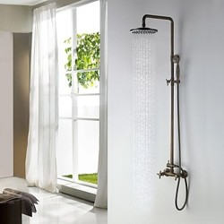 Antique Brass Tub Shower Faucet with 8 inch Shower Head and Hand Shower – Faucetsmall.com