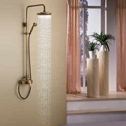 Antique Brass Tub Shower Faucet with 8 inch Shower Head + Hand Shower – Faucetsmall.com