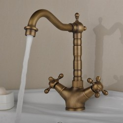 Antique Deck Mounted Inspired Brass Kitchen Faucet At FaucetsDeal.com