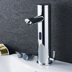Contemporary Brass Bathroom Sink Faucet with Automatic Sensor (Hot and Cold) – Chrome Fini ...