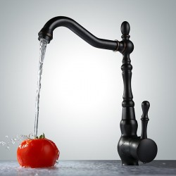 Retro Oil Rubbed Bronze Finish One Hole Single Handle Rotatable Kitchen Faucet At FaucetsDeal.com