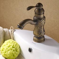 Antique Solid Brass Centerset Bathroom Sink Faucet (Antique Copper Finish) At FaucetsDeal.com