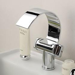 Brass Chrome Finish Waterfall Curve Spout Bathroom Sink Faucet – FaucetSuperDeal.com