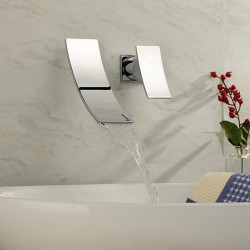 Contemporary Chrome Finish Waterfall Wall Mount Stainless Steel Bathroom Sink Faucet At FaucetsD ...