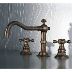 Dual Handle Antique Faucet Copper Hot And Cold Fashion Bathroom Cabinet Basin Rotating Faucets A ...