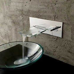 Wall Mounted Chromed Copper Waterfall Bathroom Sink Faucet – Silver At FaucetsDeal.com
