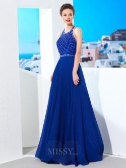 A-Linie/Princess-Linie Juwel-Ausschnitt Ärmellos Perlen verziert Chiffon Sweep/Pinsel zug Kleide ...