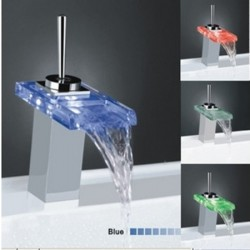 Best Selling Single Handle Mount LED Glass Waterfall Bathroom Sink Faucet – FaucetSuperDeal.com