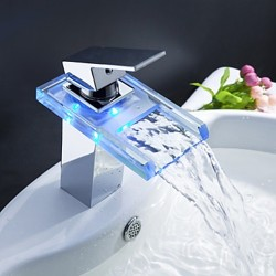 Charming Color Changing LED Waterfall Bathroom Sink Faucet – FaucetSuperDeal.com