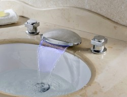 Chrome Finish Color Changing LED Bathtub Waterfall Faucet with Two Handles At FaucetsDeal.com