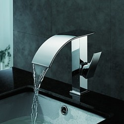 Chrome Finish Contemporary Waterfall Bathroom Sink Faucet – Faucetsmall.com