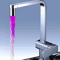 Chrome Finish Kitchen Faucet with Color Changing LED Light – FaucetSuperDeal.com