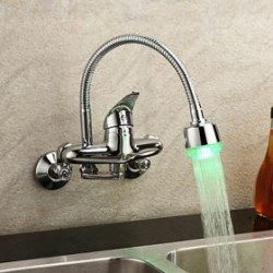 Chrome Finish – Single Handle Color Changing LED Wall Mount Kitchen Faucet – FaucetS ...