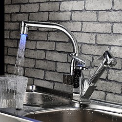 Contemporary Color Changing LED Pull Out Kitchen Faucet (Chrome Finish)– FaucetSuperDeal.com