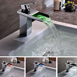 Contemporary Solid Brass Single Handle LED Waterfall Bathroom Sink Faucet Chrome Finish –  ...