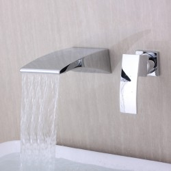 Contemporary Wall-mounted Waterfall Chrome Finish Curve Spout Bathroom Faucet At FaucetsDeal.com