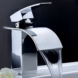 Contemporary Waterfall Bathroom Sink Faucet – Chrome Finish – Faucetsmall.com