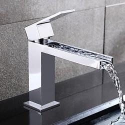 Contemporary Waterfall Brass Chrome Centerset Chrome Finish Waterfall Bathroom Sink Faucet&#8211 ...