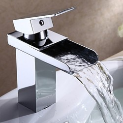 Modern Chrome Finish Single Handle Waterfall Bathroom Sink Faucet – Faucetsmall.com