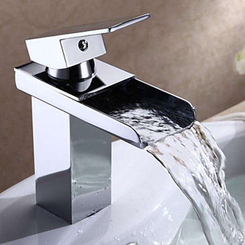 Modern Chrome Finish Single Handle Waterfall Bathroom Sink ...