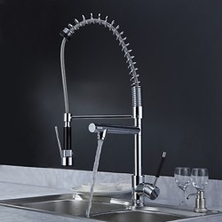 Solid Brass Spring Kitchen Faucet with Two Spouts (Chrome Finish) – FaucetSuperDeal.com