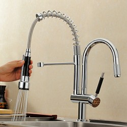 Solid Brass Spring Pull Out Kitchen Faucet – Brushed Finish – FaucetSuperDeal.com