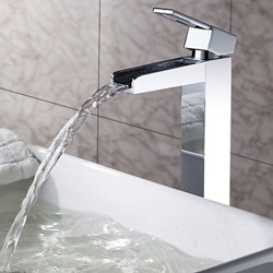 Solid Brass Waterfall Bathroom Faucet – Chrome Finish (Tall) – Faucetsmall.com