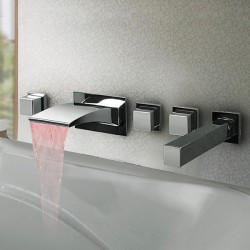 Thermochromic Chrome Finish LED Waterfall Bathroom Tub Faucet At FaucetsDeal.com