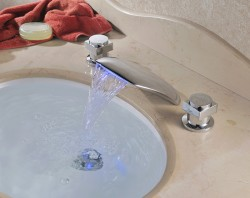 Two Handles Chrome Finish Color Changing LED Bathtub Waterfall Faucet At FaucetsDeal.com