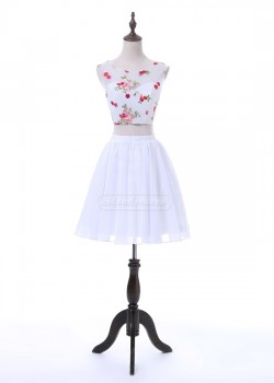 Beautiful Floral Organza Print Cap Sleeves Two Piece White Homecoming Dress 2017 [A-004] – ...