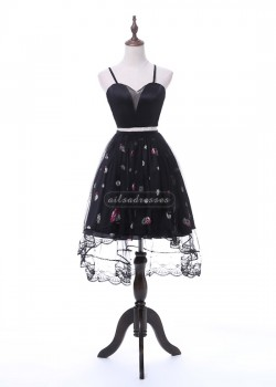 Black Sweetheart Straps Crop Top Two Piece Floral Pattern High Low Cocktail Dress [A-011] – ...