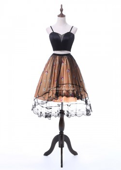 2017 Fashion Black Crop Top Two Piece Floral Coral High Low Homecoming Dress [A-010] – $12 ...