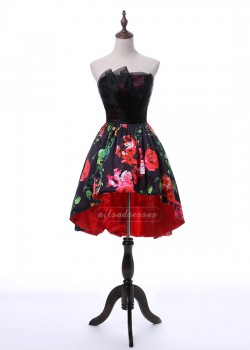 New Arrival Sweetheart A Line Printed Black High Low Prom Homecoming Dress 2017 [A-016] –  ...