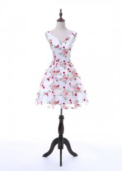 Romantic Floral Print Sexy V Neck Short Mini 2017 Homecoming Dress For 8th Grade [A-003] – ...