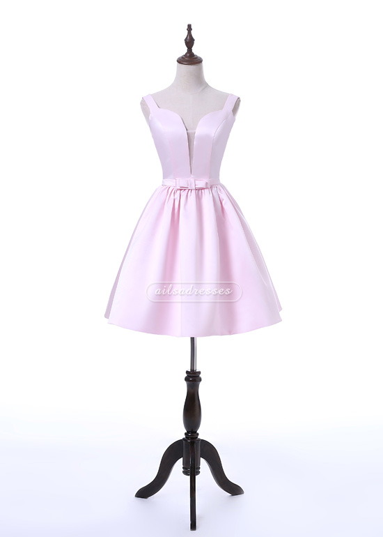 Sexy Backless V Neck A-line Pink Short Stain 2017 Homecoming Dress With Bow [A-001] – $99. ...