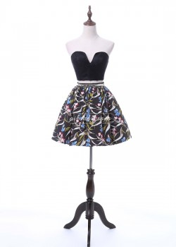 Sexy Two Piece Strapless Cutout Front Floral Patterns Black Homecoming Dress [A-012] – $11 ...