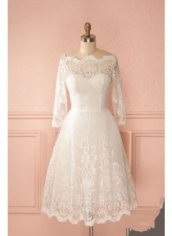 Gorgeous A-Line Off-The-Shoulder Lace Scoop Neckline Short Wedding Dress