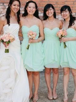 Herzausschnitt Ärmellos Kurz/Mini Chiffon Brautjungfernkleider – MissyDress