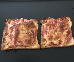 Homemade Pizza bread with ham & cheese